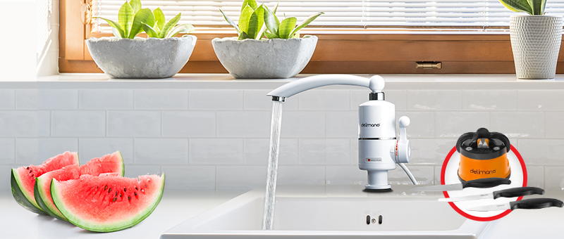 EXCLUSIV ONLINE! Robinet electric pentru incalzit apa + Cadou: Ascutitoare + 3 Cutite